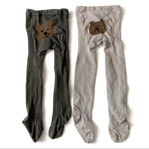 Gap Girls 2-3 Tights Gray Silver Cotton Thick Knit